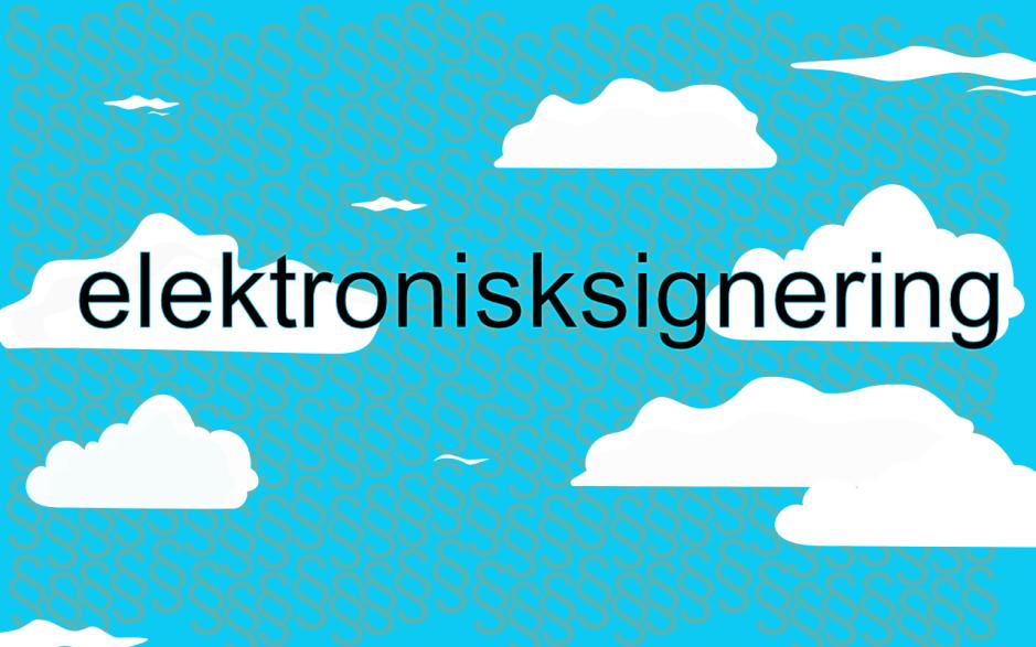 bild med textsymbolen för en § i bakgrunden och texten 'Elektronisksignering' ovanpå.